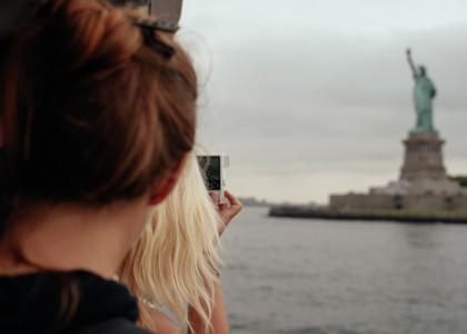 Hudson River New York Freiheitsstatue Kamera