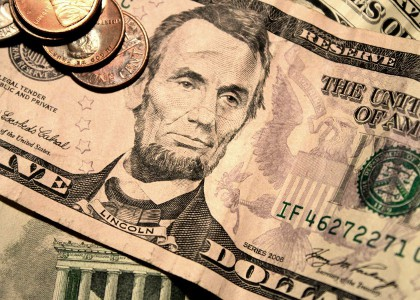 USA Banknote und Kleingeld